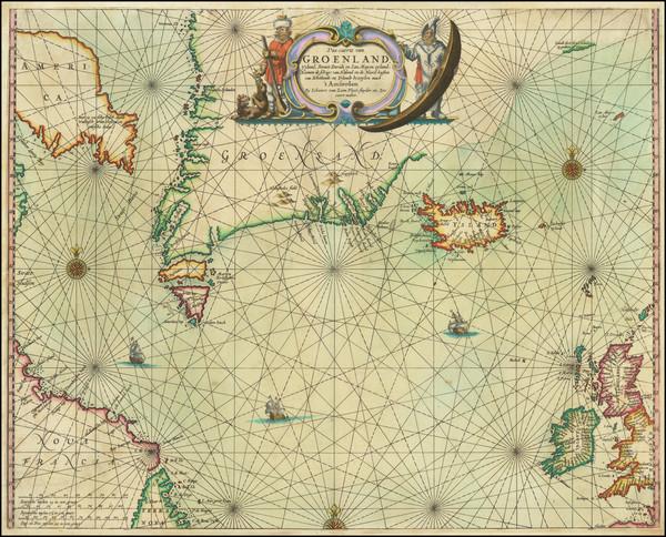 63-Polar Maps, Atlantic Ocean, Iceland and Eastern Canada Map By Johannes van Loon