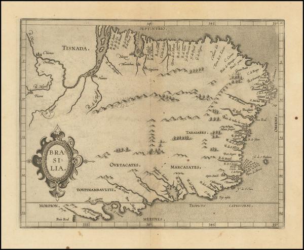 71-Brazil Map By Cornelis van Wytfliet