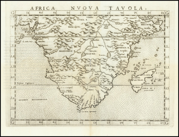 98-South Africa Map By Girolamo Ruscelli