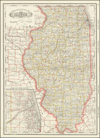 57-Illinois Map By George F. Cram
