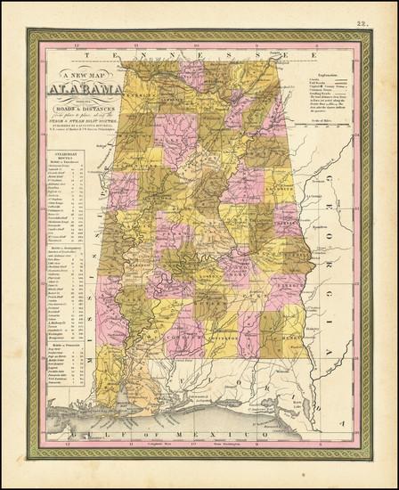 48-Alabama Map By Samuel Augustus Mitchell