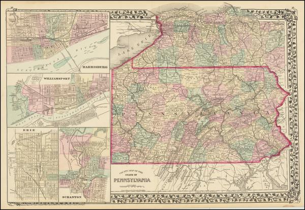 63-Pennsylvania Map By Samuel Augustus Mitchell Jr.
