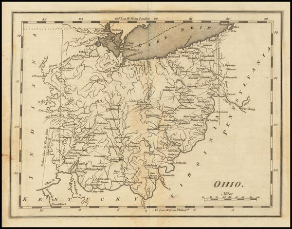 89-Ohio Map By Mathew Carey