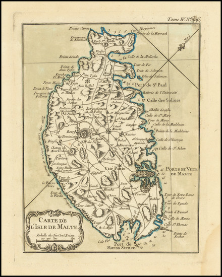 9-Malta Map By Jacques Nicolas Bellin