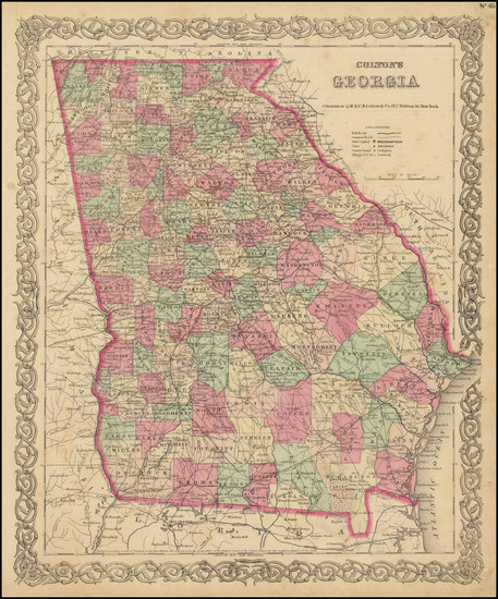43-Georgia Map By G.W.  & C.B. Colton