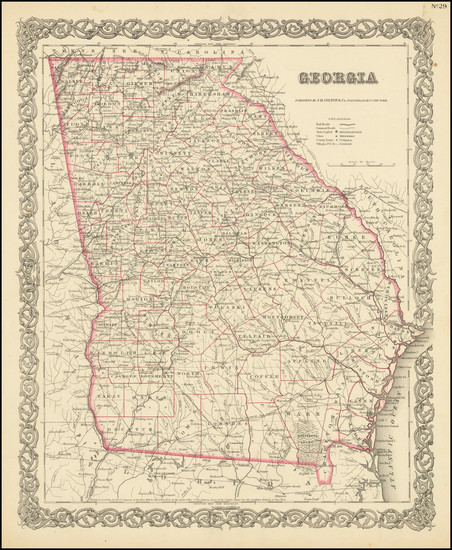 23-Georgia Map By Joseph Hutchins Colton