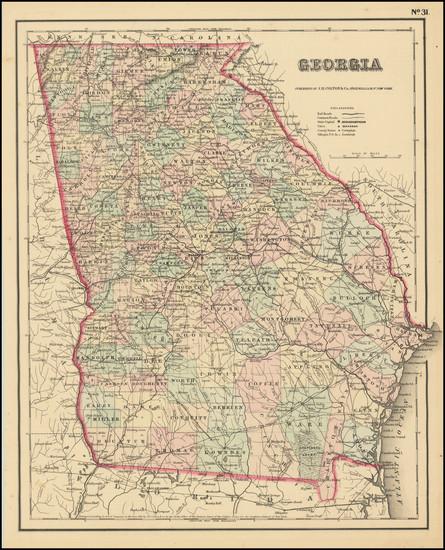 56-Georgia Map By Joseph Hutchins Colton