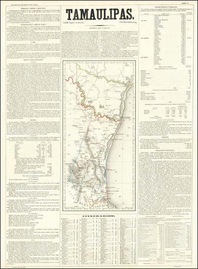 45-Texas and Mexico Map By Antonio Garcia y Cubas