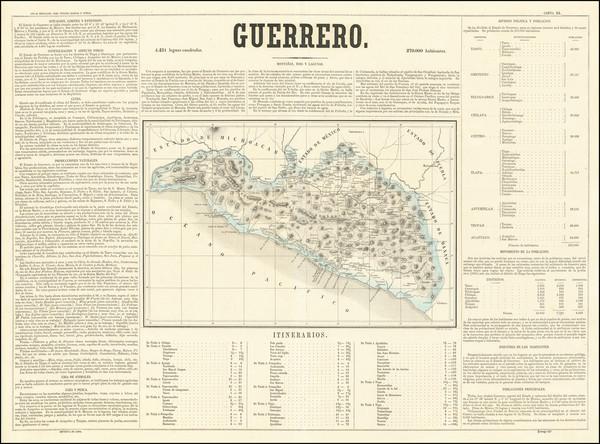 37-Mexico Map By Antonio Garcia y Cubas