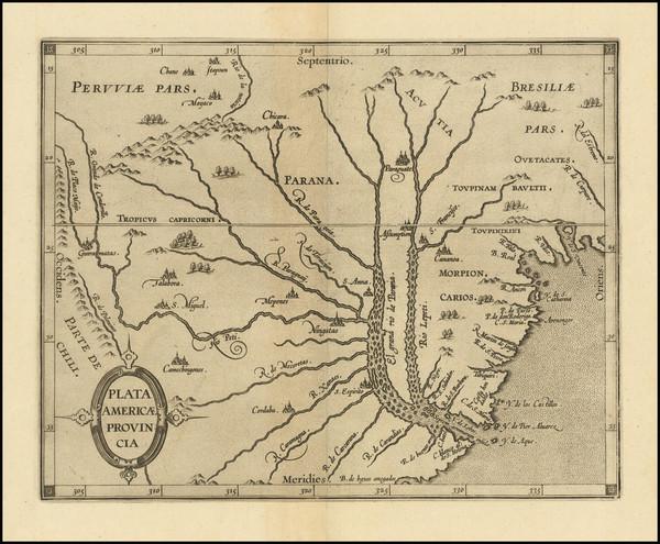 97-Argentina, Brazil, Paraguay & Bolivia and Uruguay Map By Cornelis van Wytfliet
