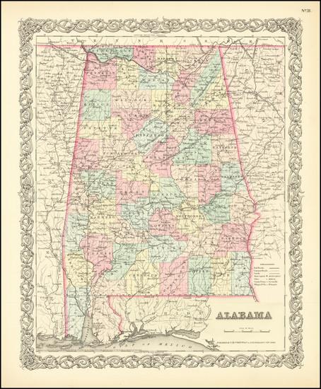 48-Alabama Map By Joseph Hutchins Colton
