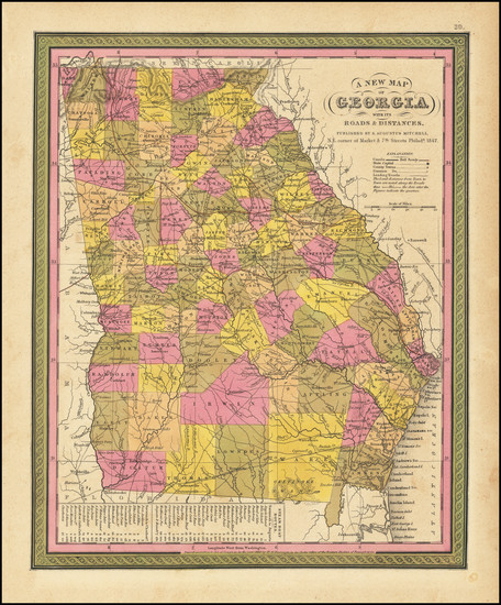 10-Georgia Map By Samuel Augustus Mitchell