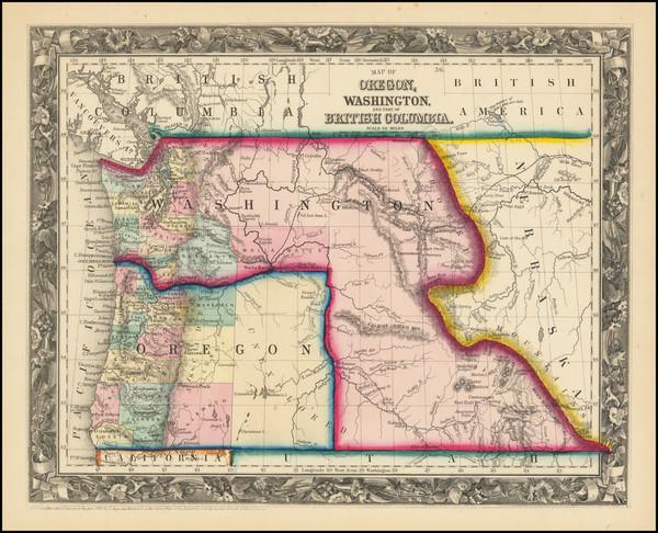56-Idaho, Montana, Wyoming, Oregon and Washington Map By Samuel Augustus Mitchell Jr.
