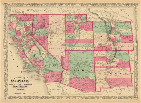 91-Plains, Southwest, Rocky Mountains and California Map By Alvin Jewett Johnson