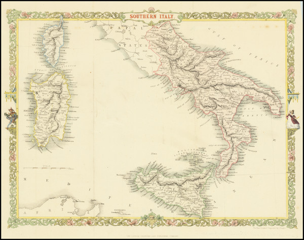 63-Southern Italy, Sardinia and Sicily Map By John Rapkin