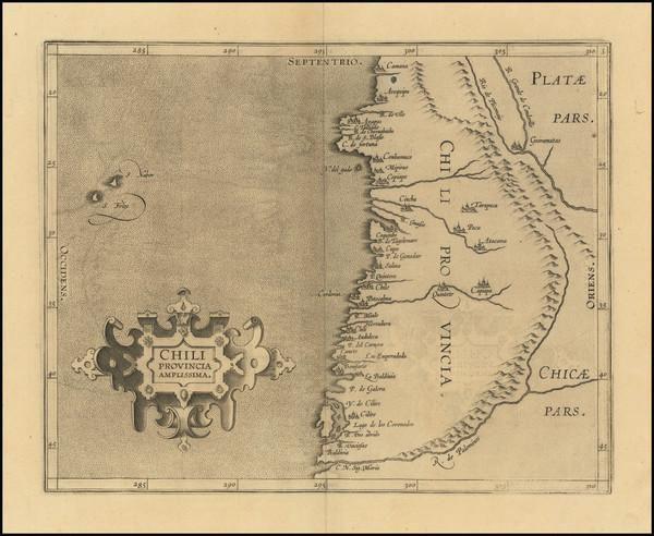 45-Chile Map By Cornelis van Wytfliet