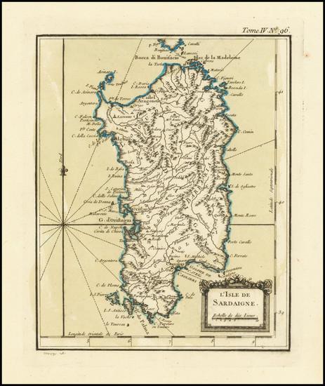 51-Sardinia Map By Jacques Nicolas Bellin