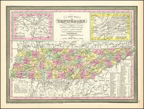 49-Tennessee Map By Thomas, Cowperthwait & Co.