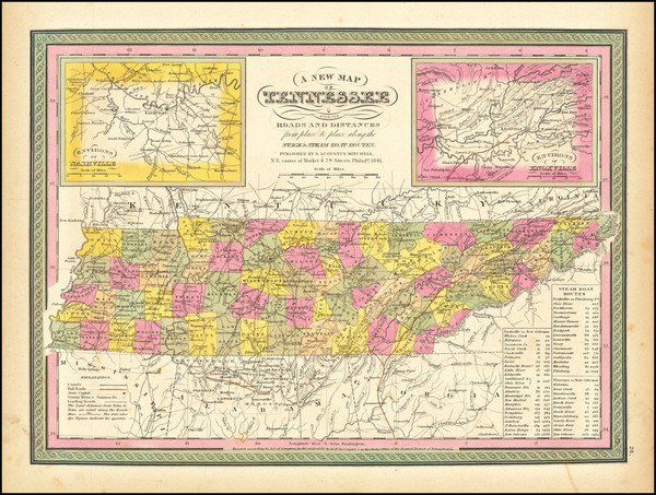 36-Tennessee Map By Samuel Augustus Mitchell