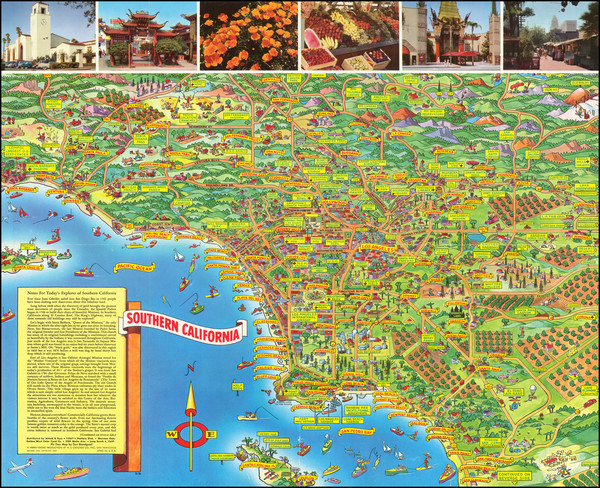 8-Pictorial Maps, California and Los Angeles Map By Don Bloodgood