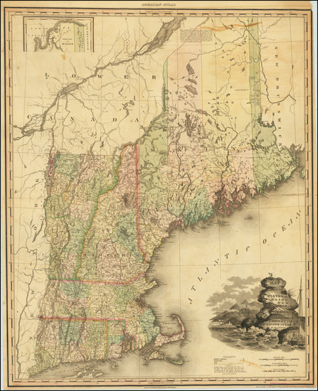 27-New England, Connecticut, Maine, Massachusetts, New Hampshire, Rhode Island and Vermont Map By