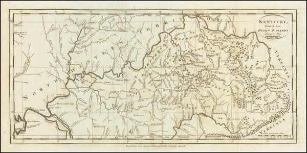 80-Kentucky Map By Mathew Carey