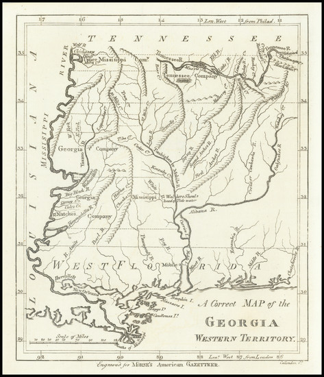 95-South, Alabama, Mississippi and Georgia Map By Jedidiah Morse