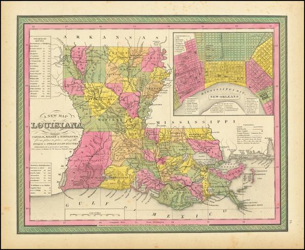 67-Louisiana Map By Samuel Augustus Mitchell