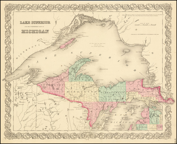 37-Michigan Map By Joseph Hutchins Colton