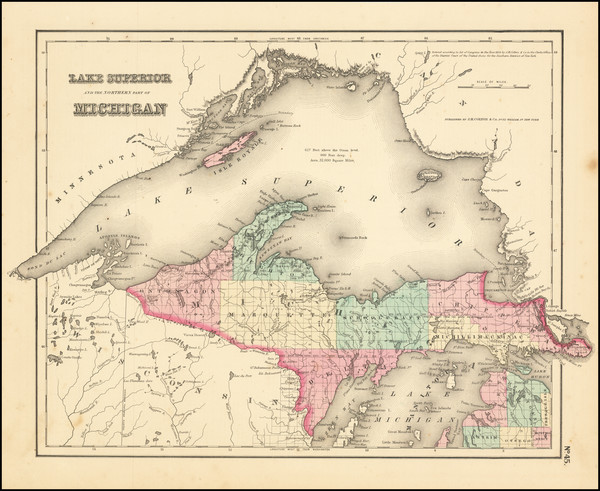 31-Michigan Map By Joseph Hutchins Colton