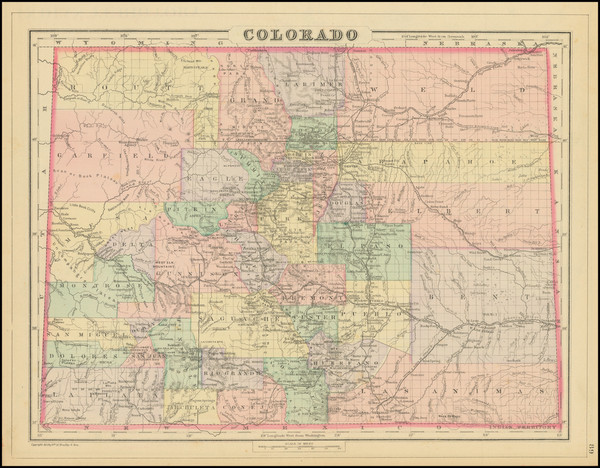 21-Oklahoma & Indian Territory, Colorado and Colorado Map By Samuel Augustus Mitchell Jr.