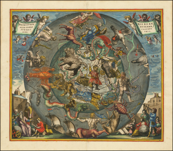 5-Celestial Maps Map By Andreas Cellarius