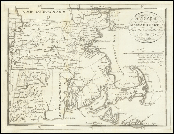 66-Massachusetts Map By Jedidiah Morse