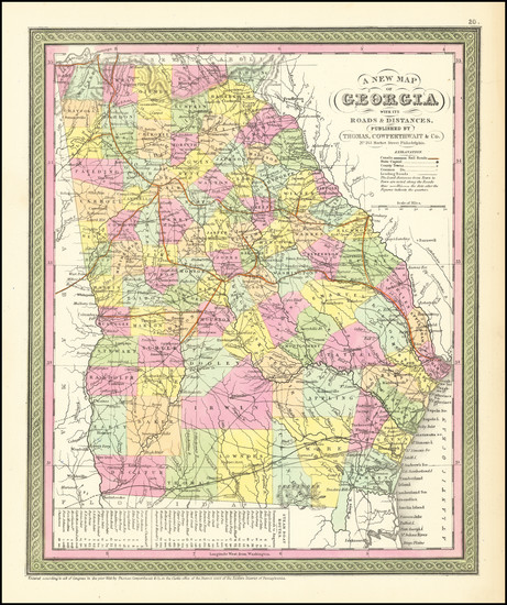 40-Georgia Map By Thomas, Cowperthwait & Co.