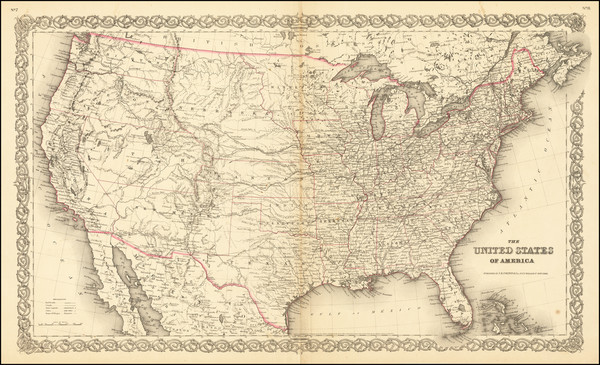 53-United States Map By Joseph Hutchins Colton