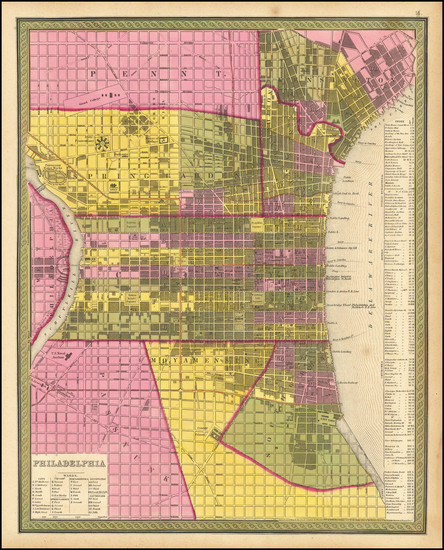 97-Philadelphia Map By Samuel Augustus Mitchell