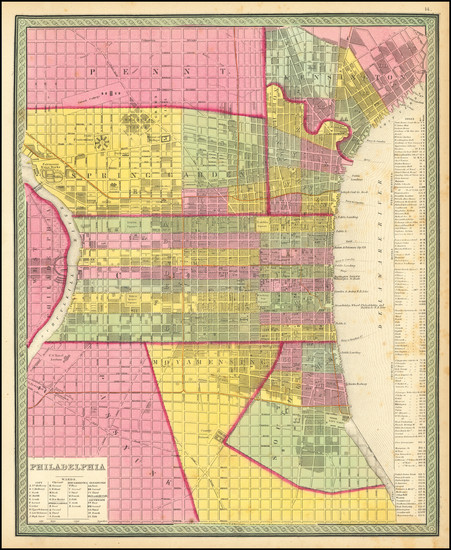 92-Philadelphia Map By Samuel Augustus Mitchell