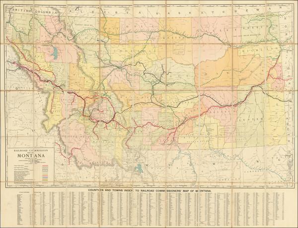 87-Montana Map By Rand McNally & Company / Montana Railroad Commission