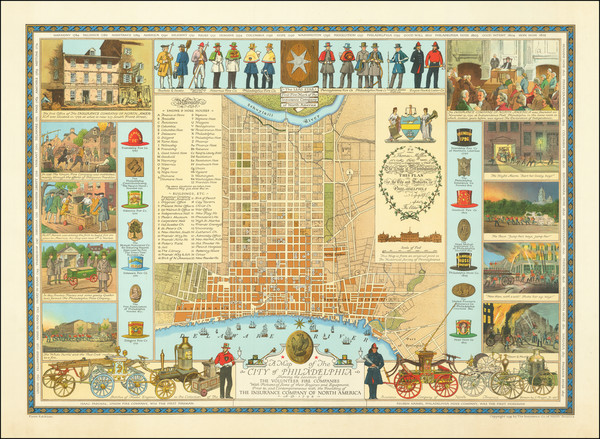 51-Pennsylvania, Pictorial Maps and Philadelphia Map By Insurance Company of North America