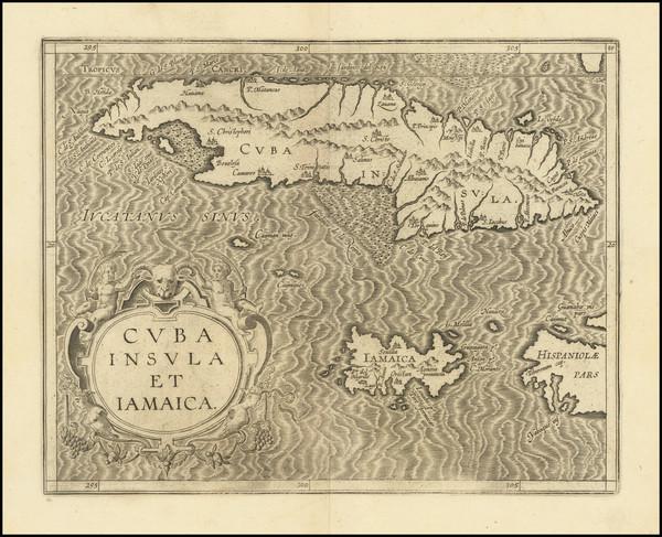 28-Cuba, Jamaica and Other Islands Map By Cornelis van Wytfliet
