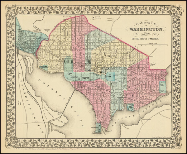 65-Washington, D.C. Map By Samuel Augustus Mitchell Jr.