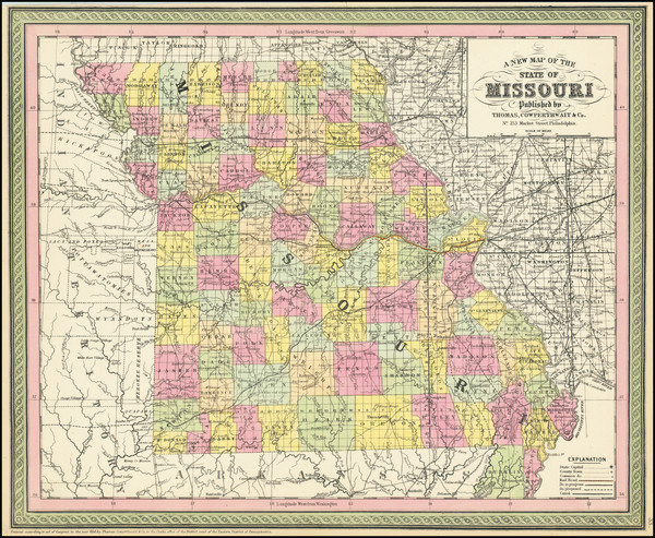 46-Missouri Map By Thomas, Cowperthwait & Co.
