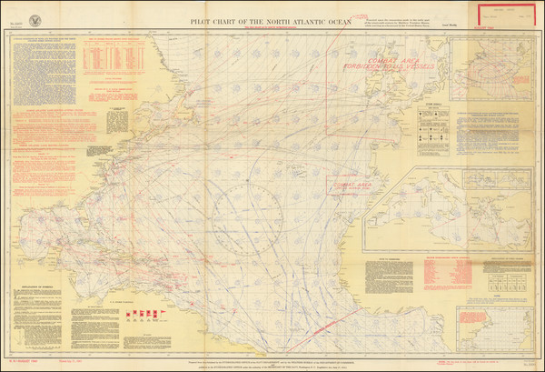 75-Atlantic Ocean and World War II Map By U.S. Hydrographical Office