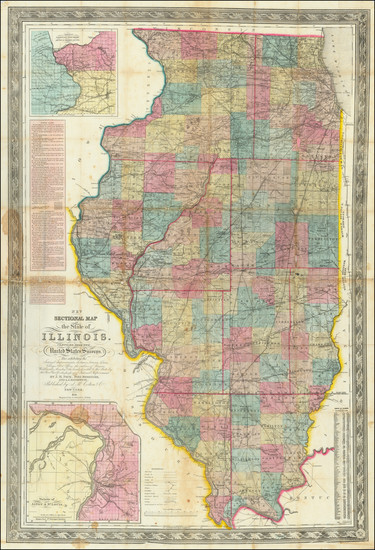 33-Illinois and Missouri Map By John Mason Peck  &  John Messinger  &  A. J. Mathewson