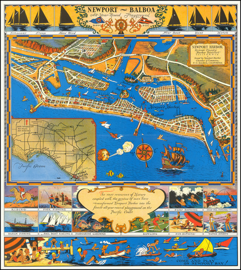 64-Pictorial Maps, California and Other California Cities Map By Claude Putnam