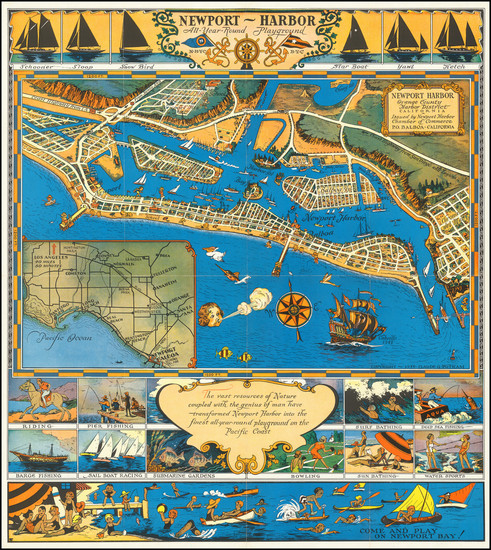 85-Pictorial Maps, California and Other California Cities Map By Claude Putnam