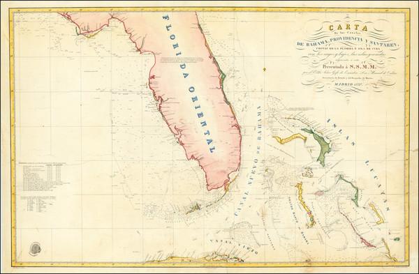 19-Florida, Cuba and Bahamas Map By Direccion Hidrografica de Madrid