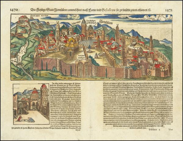 28-Holy Land and Jerusalem Map By Sebastian Munster