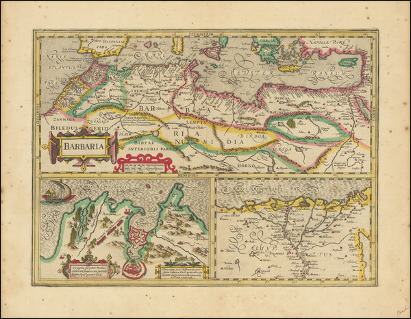 63-Egypt and North Africa Map By Jodocus Hondius