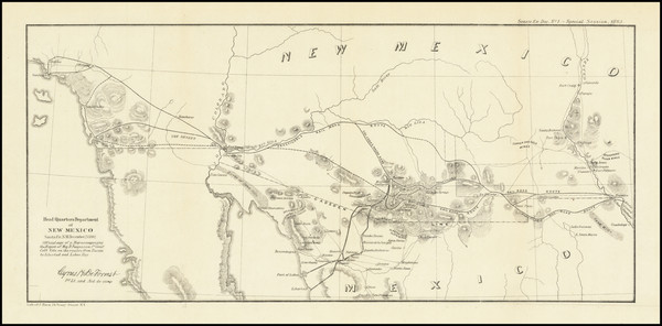 38-Arizona, New Mexico and California Map By U.S. War Department